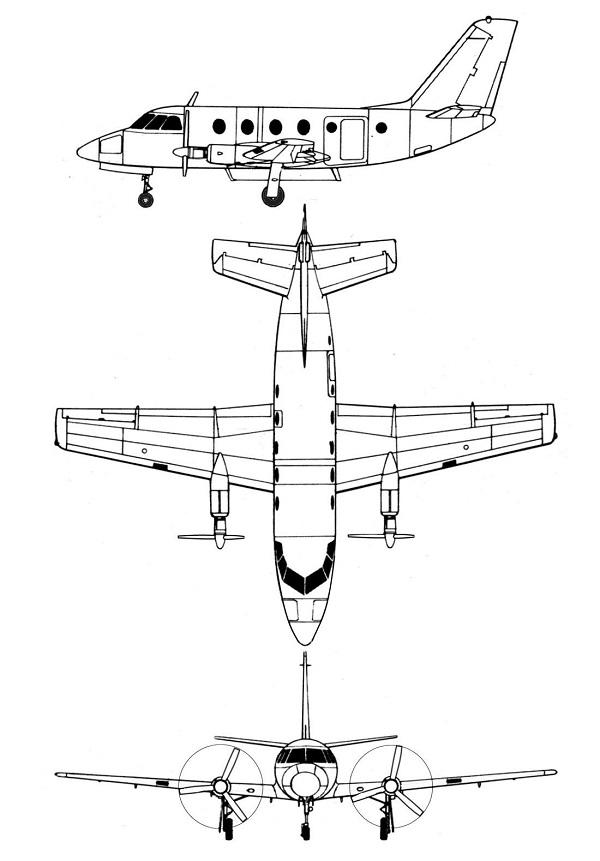 Plan 3 vues du Dassault MD.320 Hirondelle