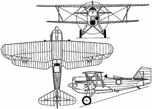 Plan 3 vues du Curtiss P-6 Hawk