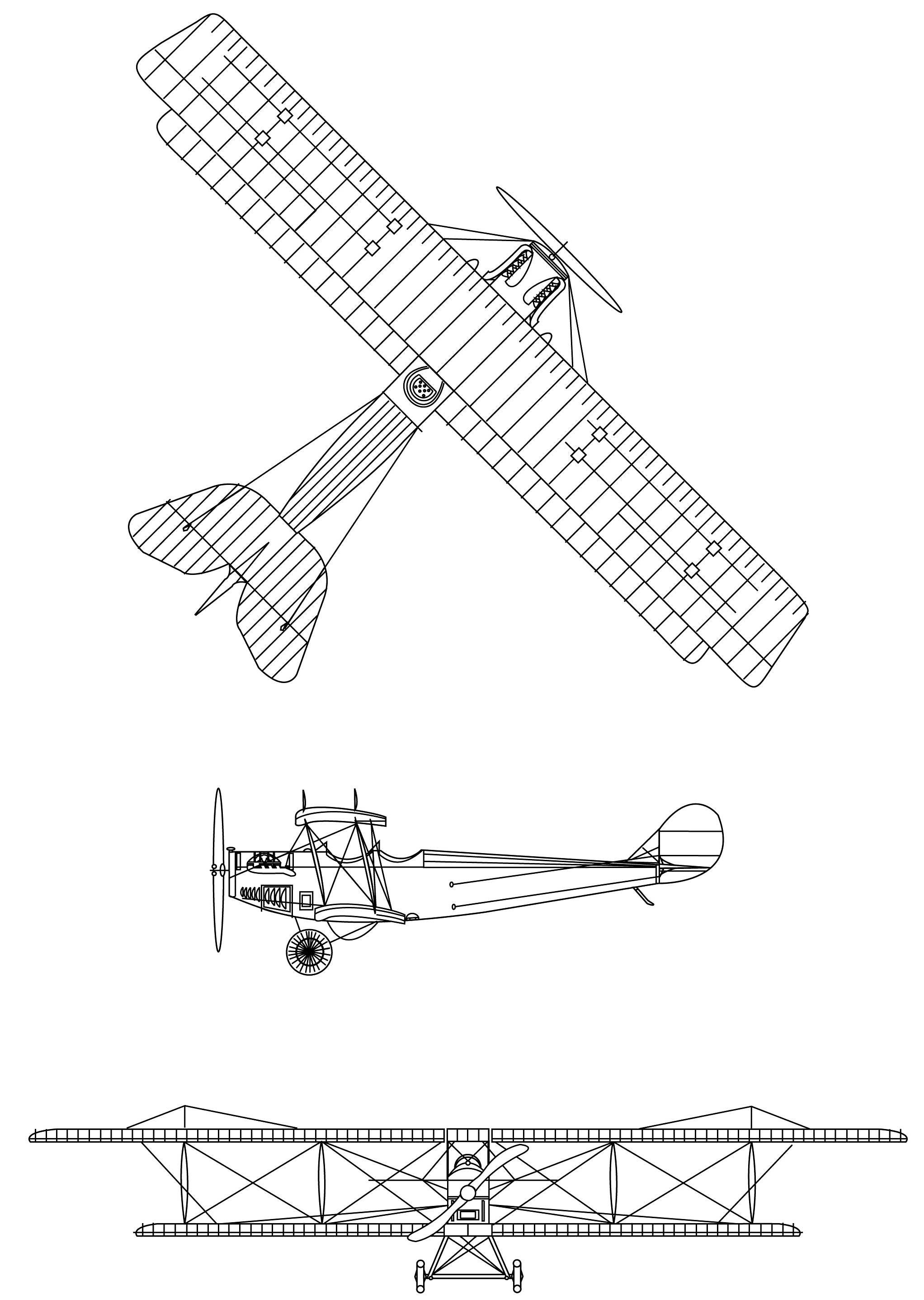 Plan 3 vues du Canadian Aeroplanes JN-4CA Canuck