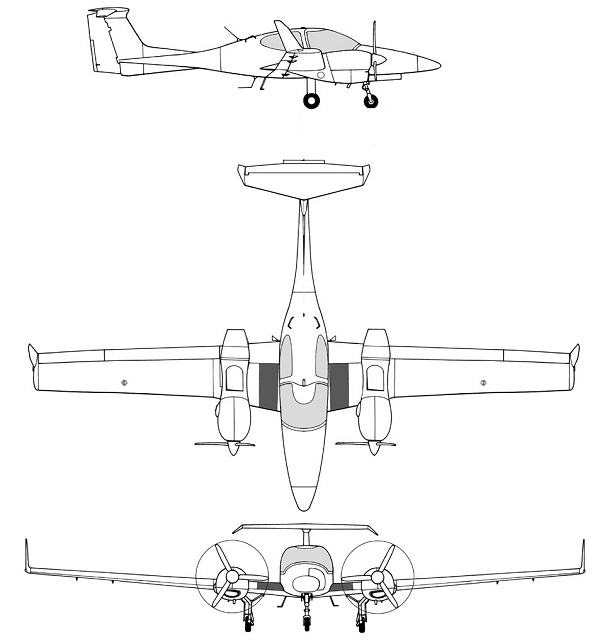 Plan 3 vues du Diamond DA42 Twin Star