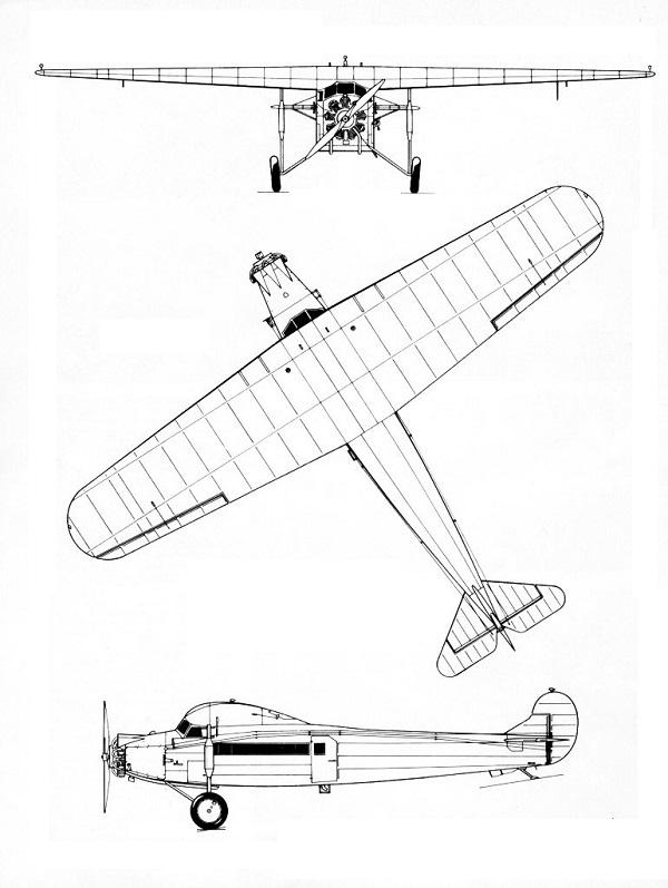 Plan 3 vues du Fokker F.VII