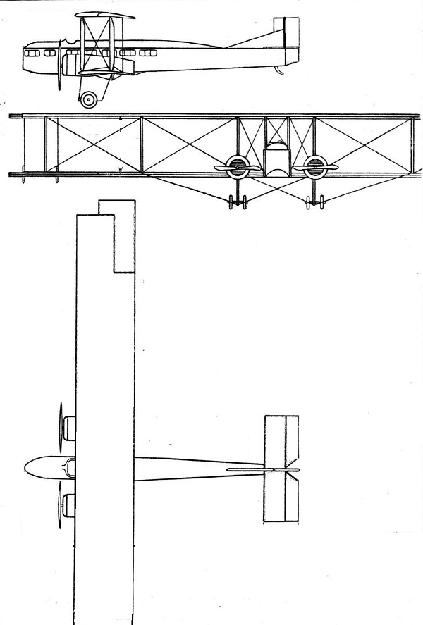 Plan 3 vues du Farman F.60 Goliath