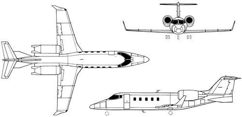 Plan 3 vues du Bombardier Learjet 60