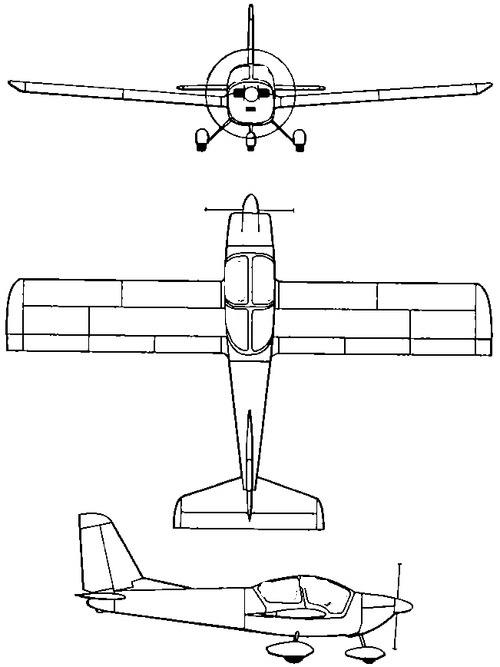 Plan 3 vues du Dätwyler MD3 Swiss Trainer