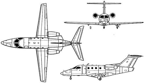 Plan 3 vues du Embraer EMB 500 Phenom 100