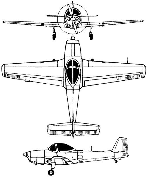 Plan 3 vues du Piaggio P.148