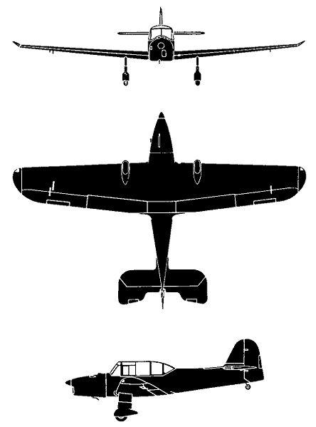 Plan 3 vues du Percival P-40 Prentice