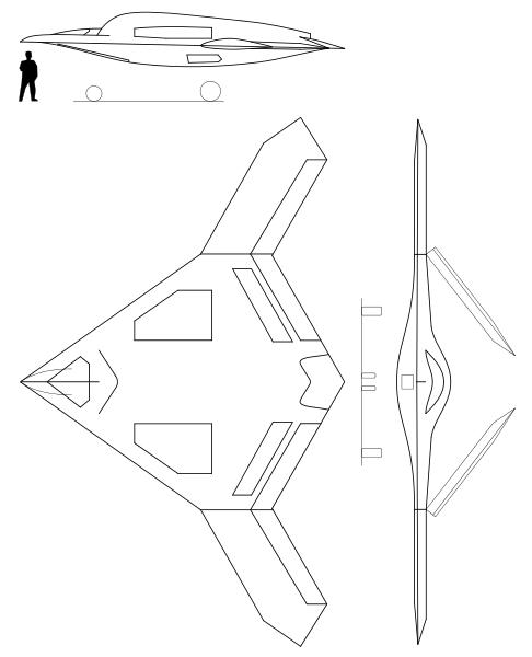 Plan 3 vues du Northrop Grumman X-47B