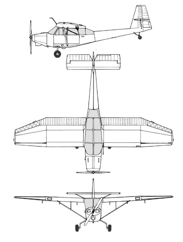 Plan 3 vues du Convair L-13 Grasshopper