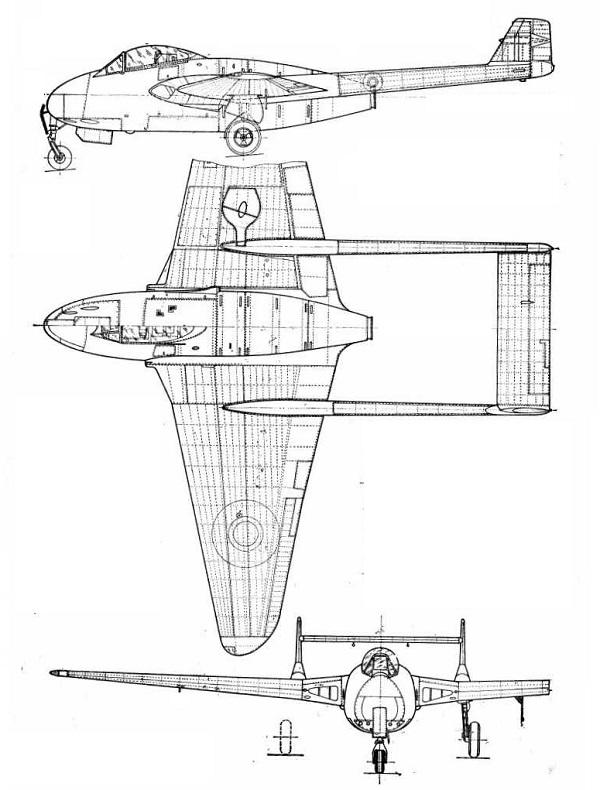 Plan 3 vues du De Havilland D.H.102 Sea Vampire