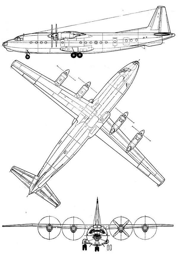 Plan 3 vues du Antonov An-10 'Cat'