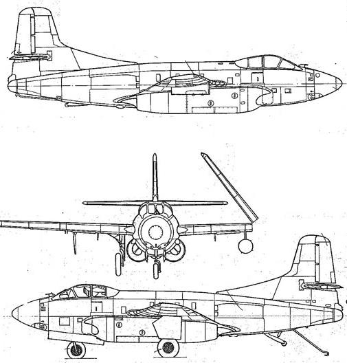 Plan 3 vues du Douglas EF-10 White Whale