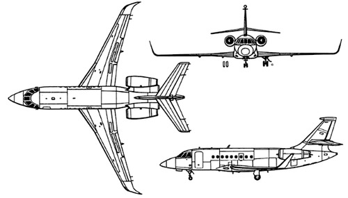 Plan 3 vues du Dassault Aviation Falcon 2000
