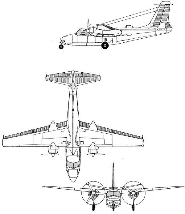 Plan 3 vues du Aero Commander L-26/RL-26