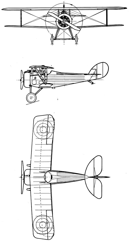Plan 3 vues du Nieuport Nie.24/Nie.27