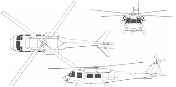 Plan 3 vues du Boeing Vertol YUH-61