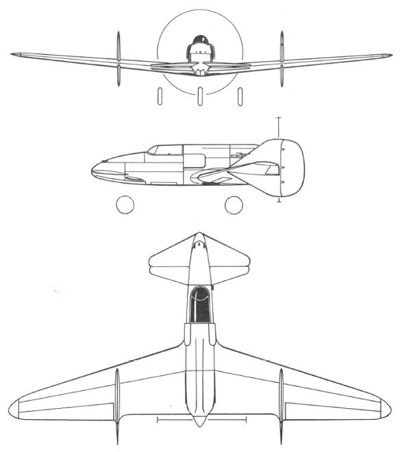 Plan 3 vues du SAI Ambrosini SS.4