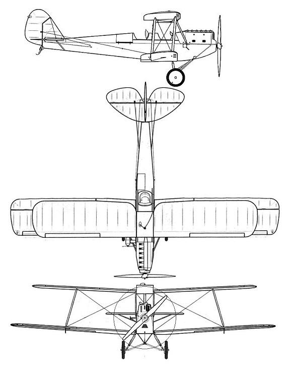 Plan 3 vues du Caproni Ca.100