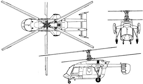 Plan 3 vues du Kamov Ka-226 'Hoodlum-C'