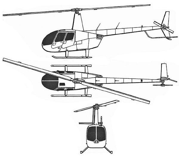 Plan 3 vues du Robinson R44 Raven