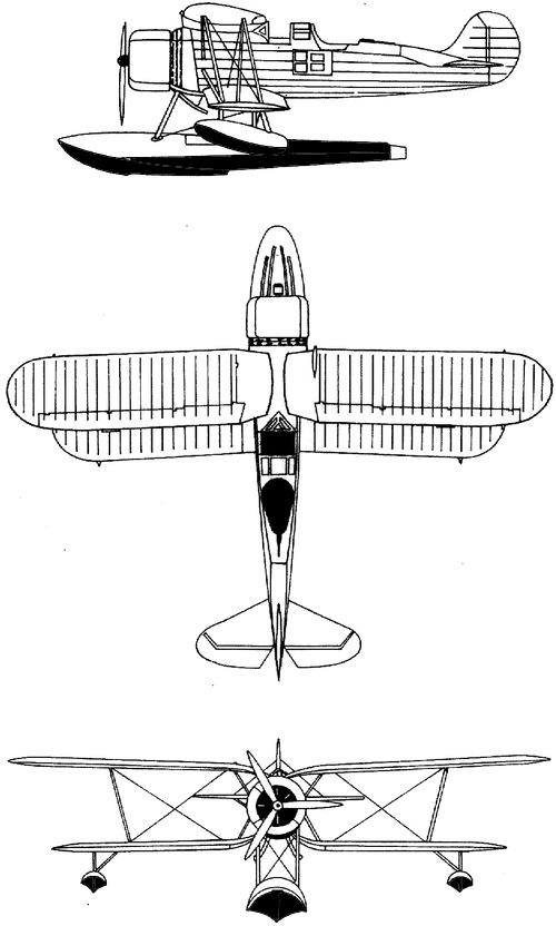 Plan 3 vues du Meridionali Ro.43