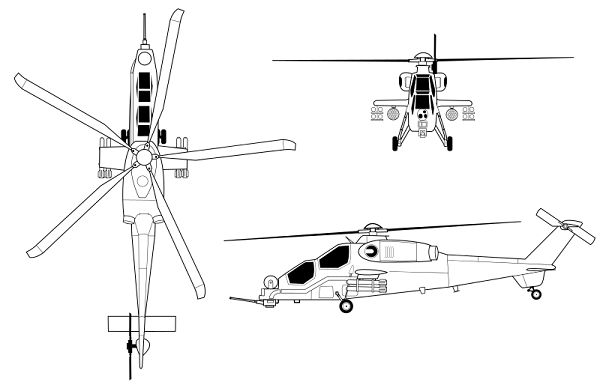 Plan 3 vues du TAI T129 ATAK