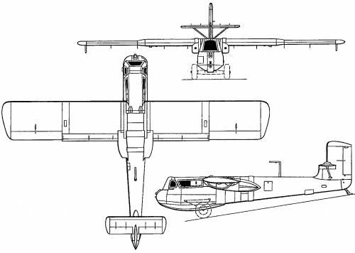 Plan 3 vues du Blohm und Voss Bv 40