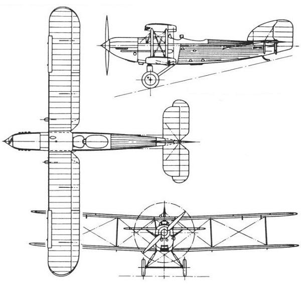 Plan 3 vues du Fairey Type IIIF