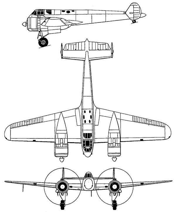 Plan 3 vues du Gloster G.39