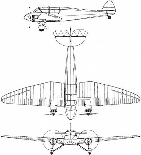Plan 3 vues du General Aircraft S.T. Monospar