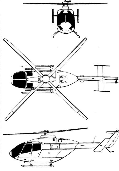 Plan 3 vues du M.B.B. Bö 108
