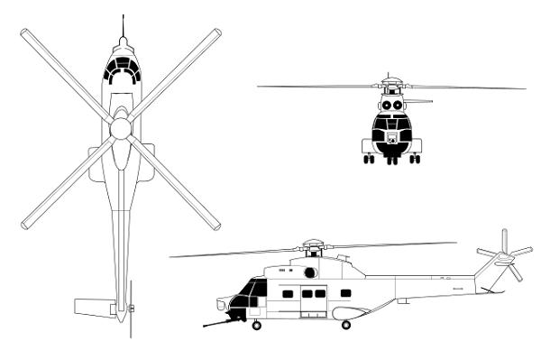 Plan 3 vues du I.A.R. IAR-330 Socat