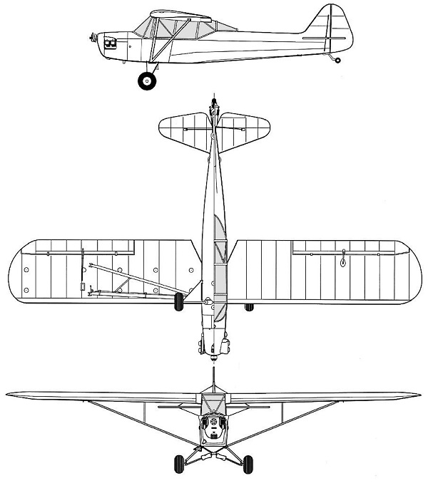 Plan 3 vues du Taylorcraft L-2 Grasshopper