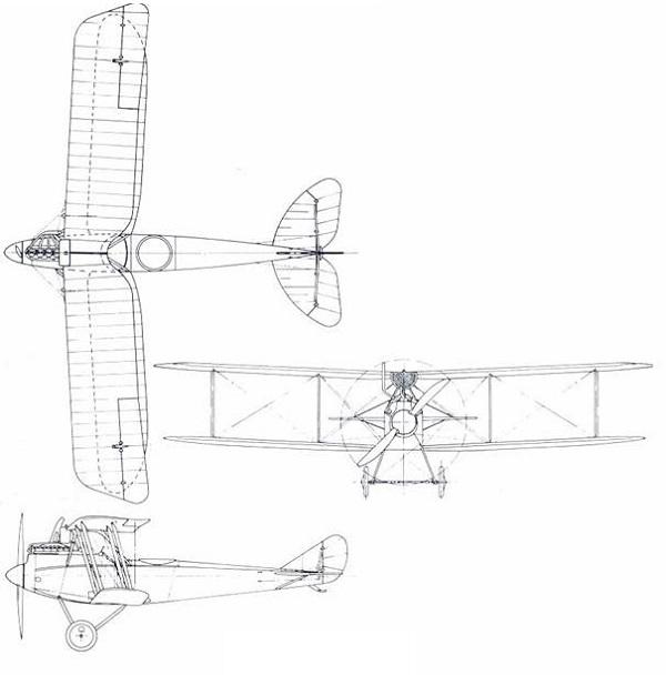 Plan 3 vues du Rumpler C.IV