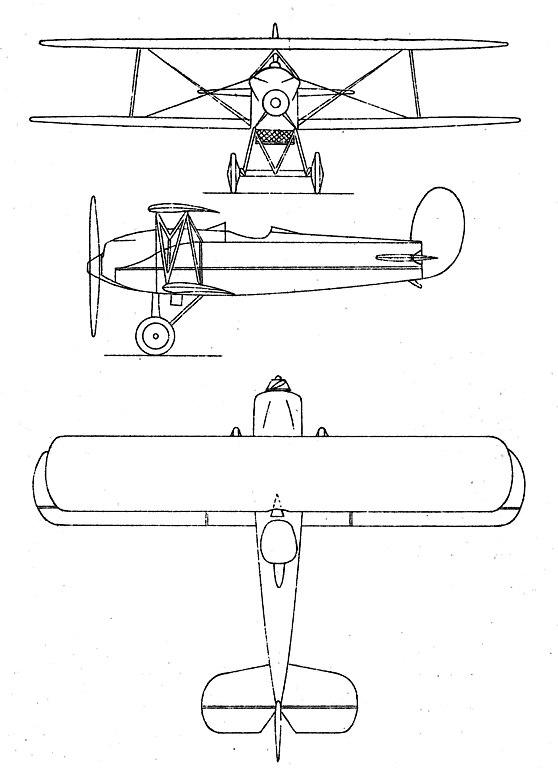 Plan 3 vues du Avia BH-21