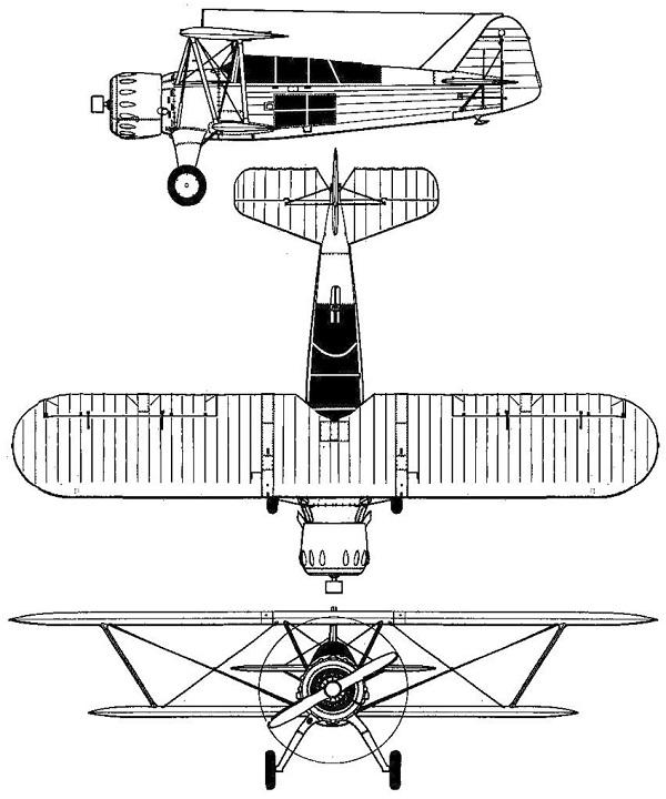 Plan 3 vues du I.A.R. IAR-37