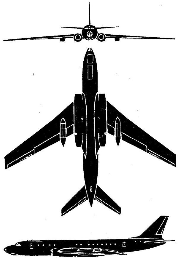 Plan 3 vues du Tupolev Tu-104 'Camel'