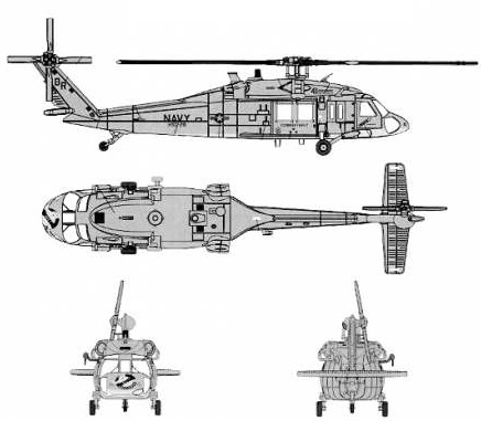 Plan 3 vues du Sikorsky MH-60 Knighthawk