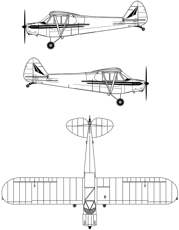 Plan 3 vues du Piper L-18 / L-21 Super Cub