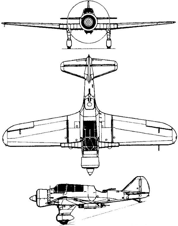 Plan 3 vues du P.Z.L. P.23 Karaš