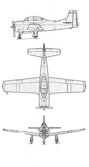 Plan 3 vues du Sud-Aviation T28 Fennec