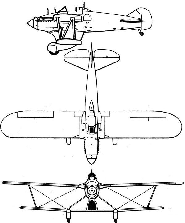 Plan 3 vues du Blackburn F.3