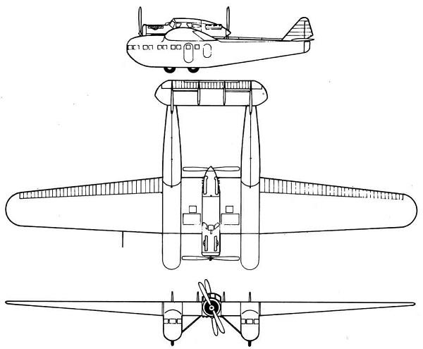 Plan 3 vues du Blériot 125