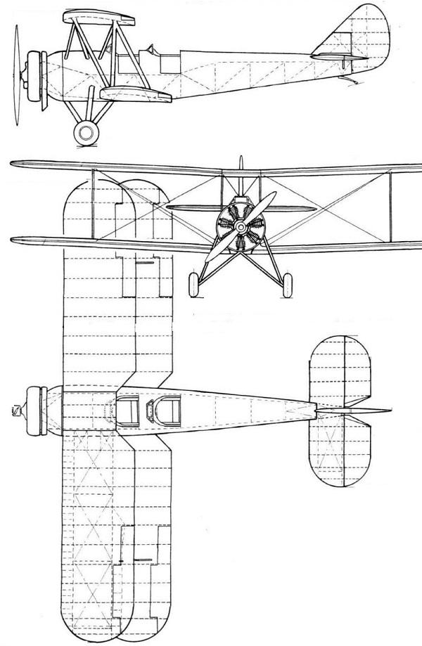 Plan 3 vues du Avro Cadet