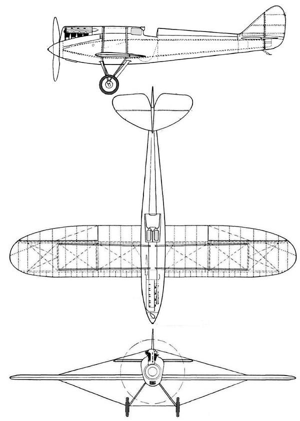 Plan 3 vues du De Havilland D.H.71 Tiger Moth