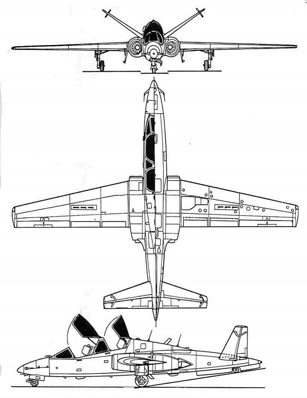 Plan 3 vues du Aérospatiale CM.90 Fouga 90