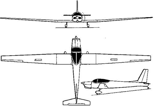 Plan 3 vues du Schweizer TG-7