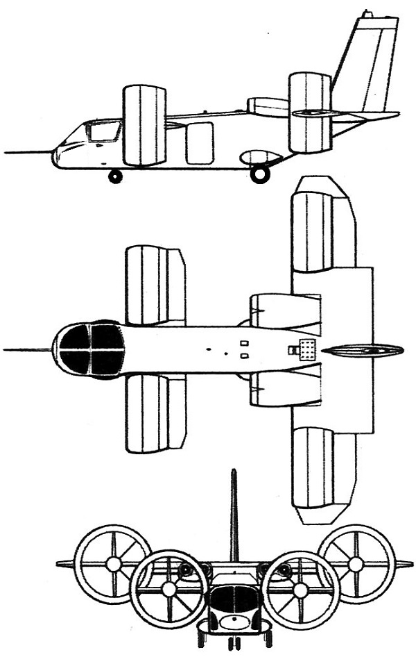Plan 3 vues du Bell X-22