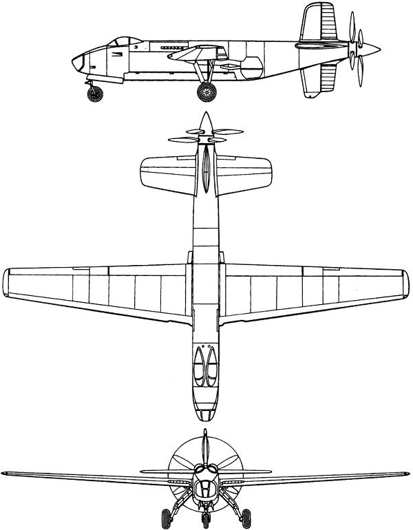 Plan 3 vues du Douglas XB-42 Mixmaster