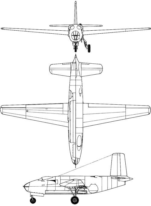 Plan 3 vues du Douglas XB-43 Jetmaster